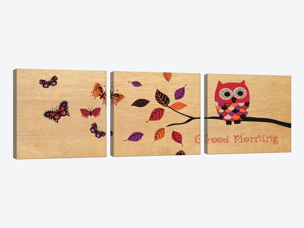 Good Morning Owl by Wild Apple Portfolio 3-piece Canvas Artwork