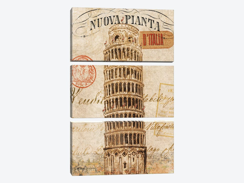 Letter from Pisa by Wild Apple Portfolio 3-piece Canvas Print
