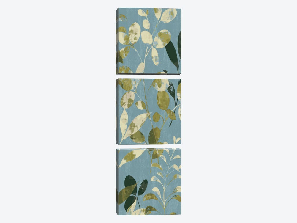 Leaves on Blue II by Wild Apple Portfolio 3-piece Canvas Art Print