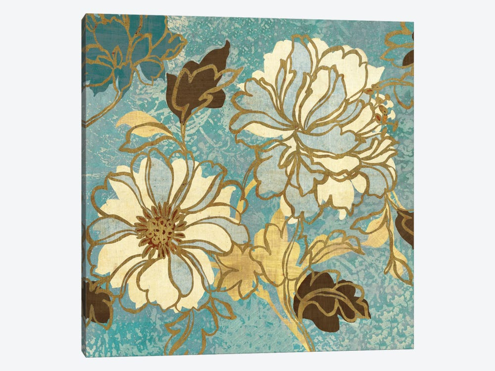 Sophias Flowers I Blue by Wild Apple Portfolio 1-piece Canvas Art
