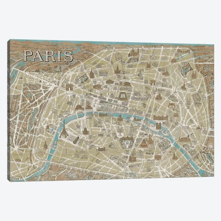 Monuments of Paris Map - Blue Canvas Print #WAC1950} by Wild Apple Portfolio Canvas Print