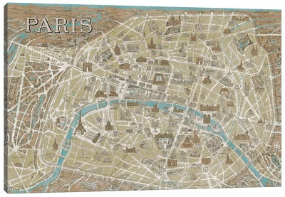 Monuments of Paris Map - Blue Canvas Print #WAC1950
