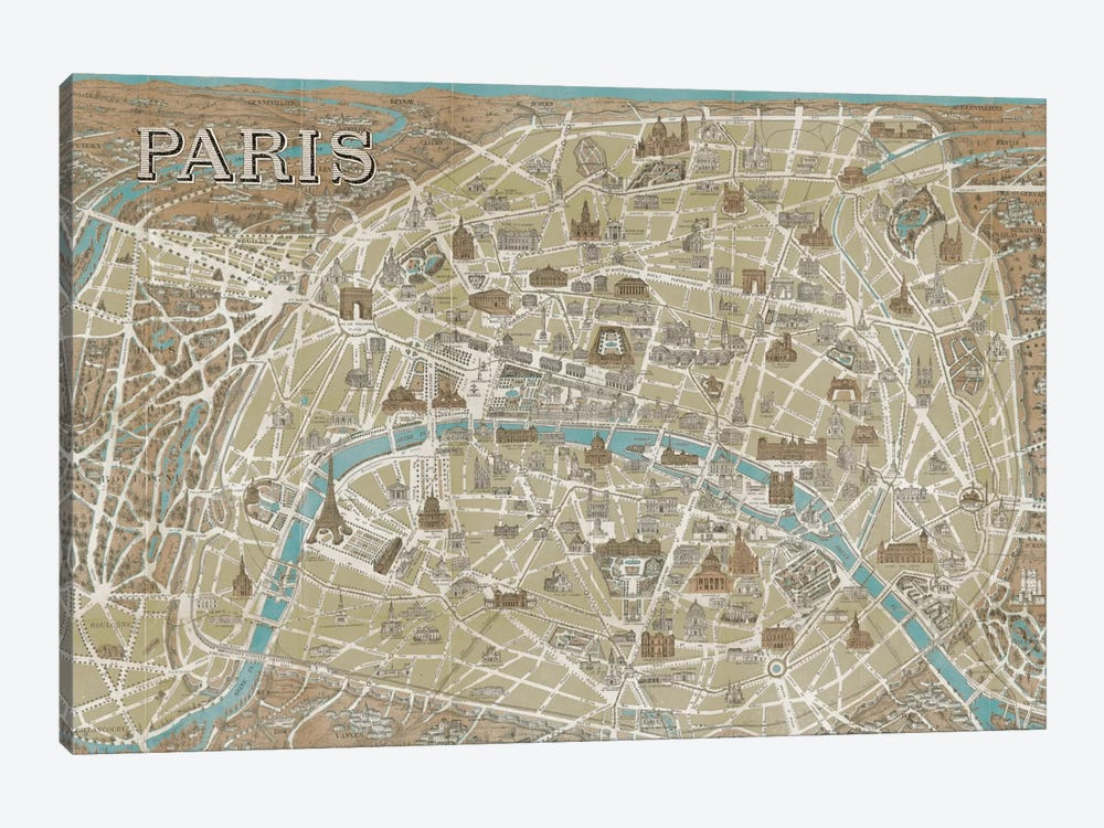 Monuments of Paris Map - Blue by Wild Apple Portfolio 1-piece Canvas Print