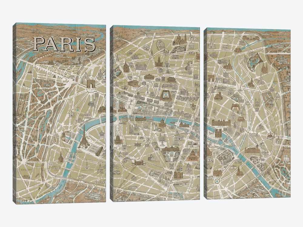 Monuments of Paris Map - Blue by Wild Apple Portfolio 3-piece Art Print
