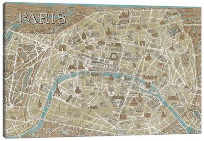 Monuments of Paris Map - Blue Canvas Art Print