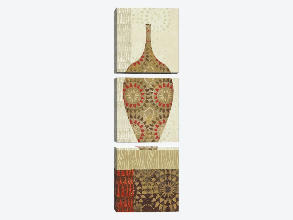Spice Stripe Vessels Panel III by Wild Apple Portfolio 3-piece Canvas Wall Art