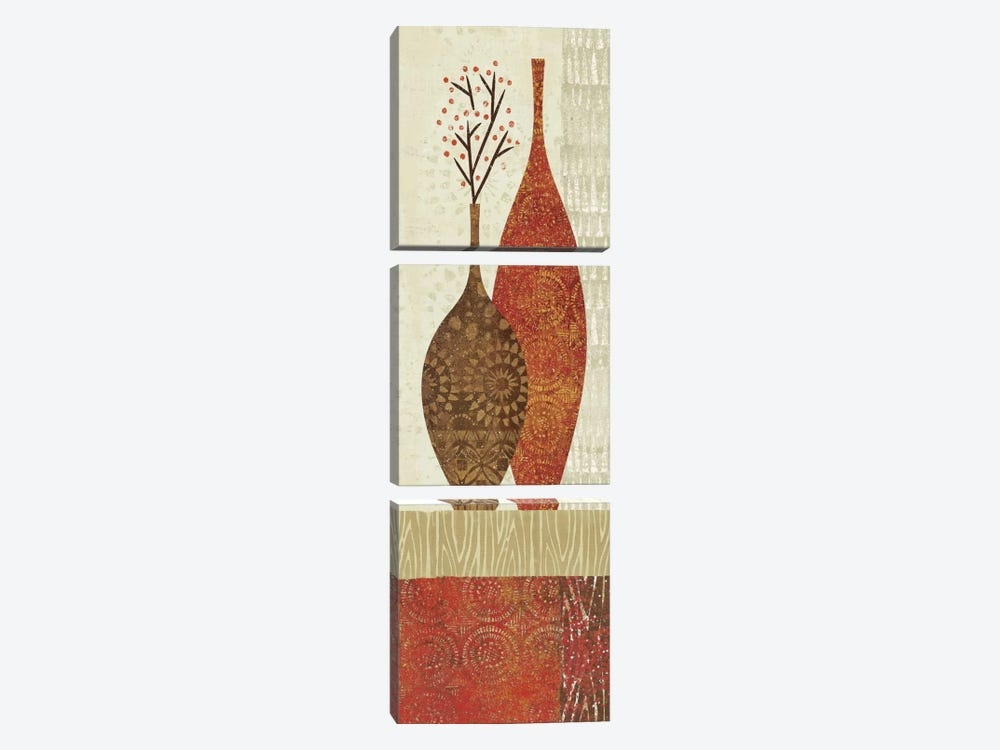 Spice Stripe Vessels Panel IV by Wild Apple Portfolio 3-piece Canvas Art Print
