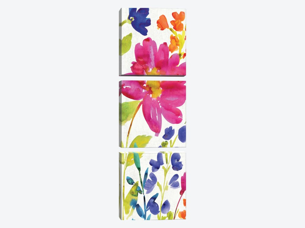 Floral Medley Panel I by Wild Apple Portfolio 3-piece Canvas Wall Art