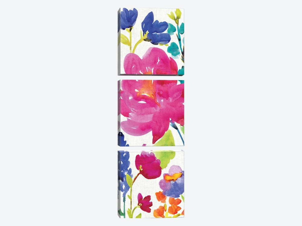 Floral Medley Panel II by Wild Apple Portfolio 3-piece Canvas Print