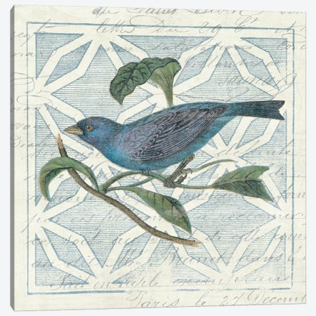 Monument Etching Tile II Blue Bird Canvas Print #WAC1986} by Wild Apple Portfolio Art Print