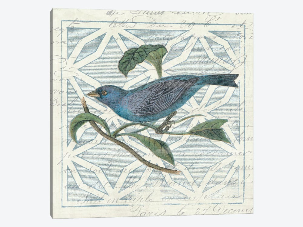 Monument Etching Tile II Blue Bird by Wild Apple Portfolio 1-piece Canvas Artwork