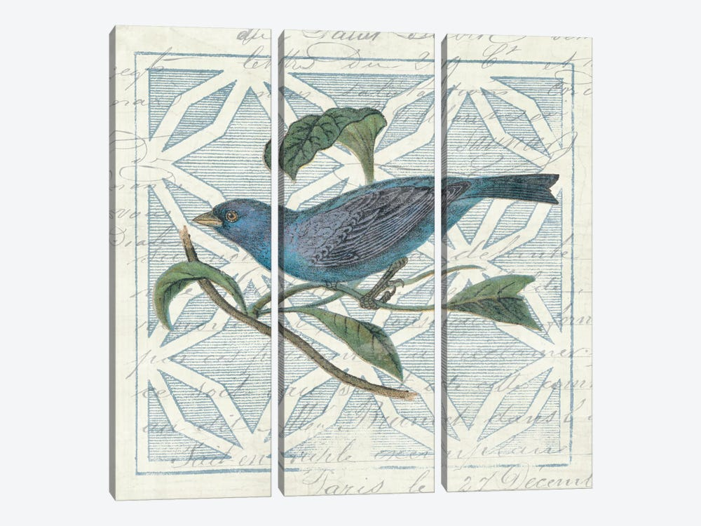 Monument Etching Tile II Blue Bird by Wild Apple Portfolio 3-piece Canvas Art