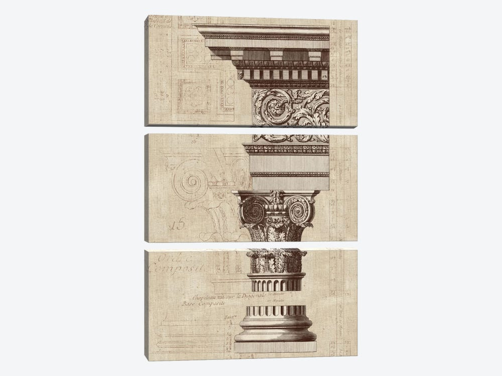 Architectural Rendering I Burlap Sepia Crop by Wild Apple Portfolio 3-piece Canvas Print