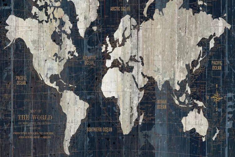 Old World Map Blue Canvas Print By Wild Apple Portfolio Icanvas