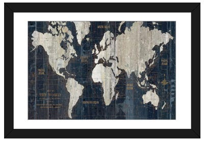Old World Map Blue Framed Art Print