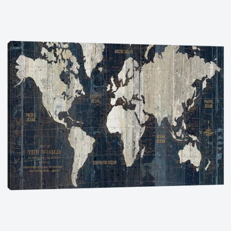 Old World Map Blue Canvas Print #WAC1993} by Wild Apple Portfolio Art Print