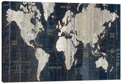 Old World Map Blue Canvas Art Print