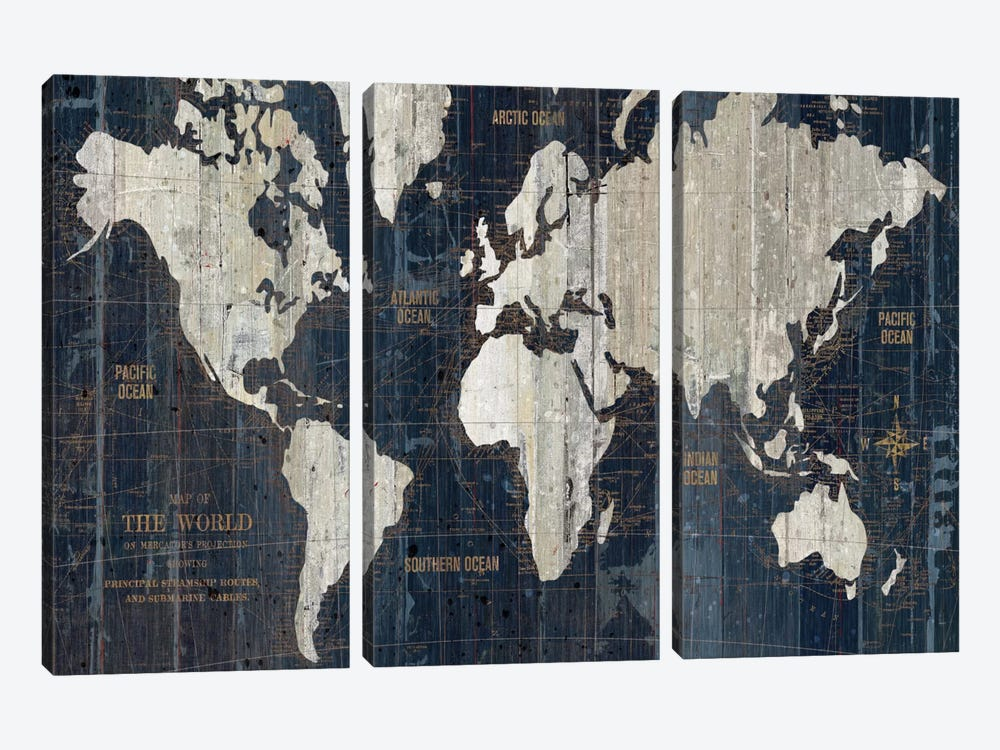 Old World Map Blue 3-piece Canvas Artwork