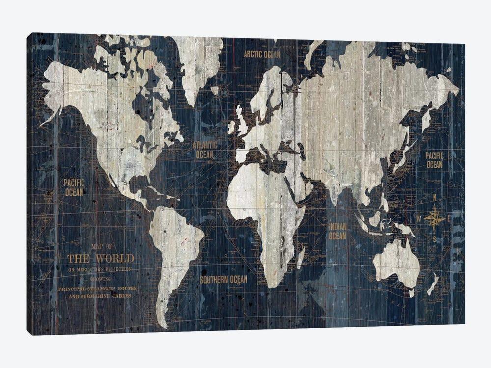 Old World Map Blue by Wild Apple Portfolio 1-piece Canvas Artwork