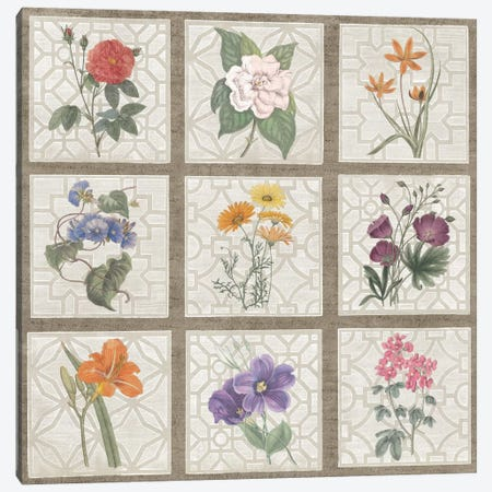 Monument Etching Tile Flowers Square I Canvas Print #WAC1994} by Wild Apple Portfolio Canvas Artwork