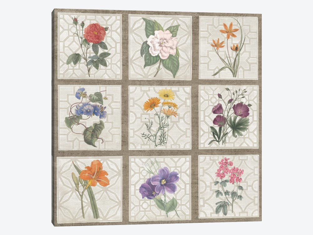 Monument Etching Tile Flowers Square I by Wild Apple Portfolio 1-piece Canvas Art Print