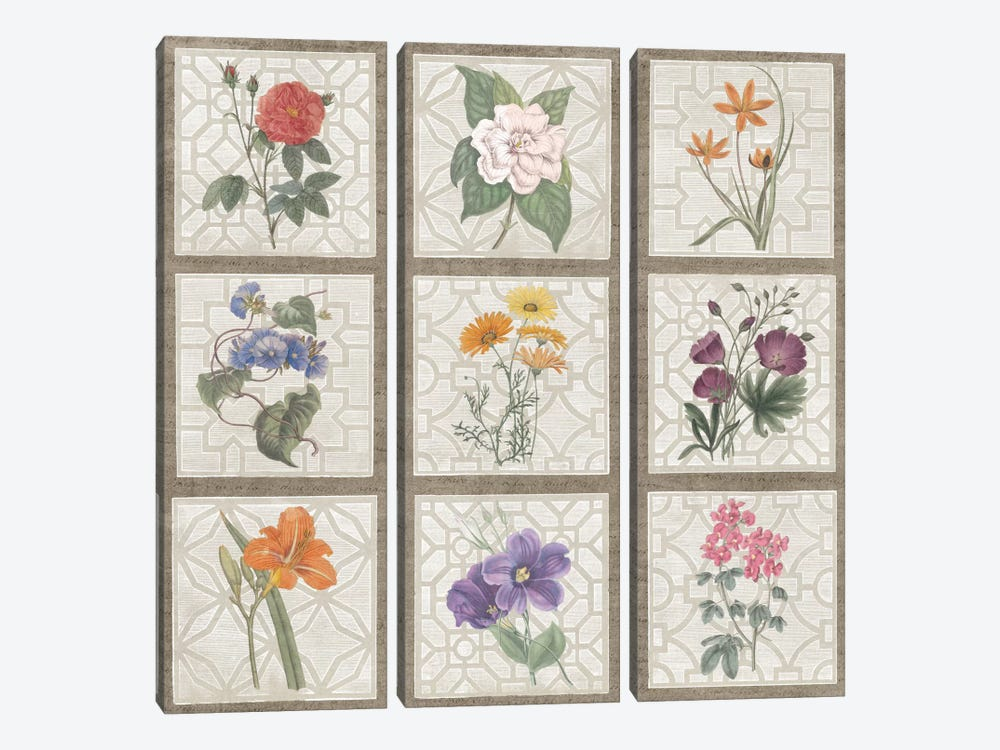 Monument Etching Tile Flowers Square I by Wild Apple Portfolio 3-piece Canvas Print
