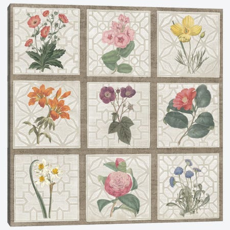 Monument Etching Tile Flowers Square II Canvas Print #WAC1995} by Wild Apple Portfolio Canvas Artwork