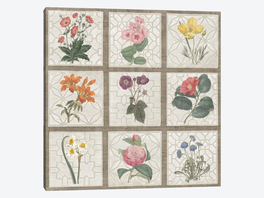 Monument Etching Tile Flowers Square II by Wild Apple Portfolio 1-piece Canvas Art