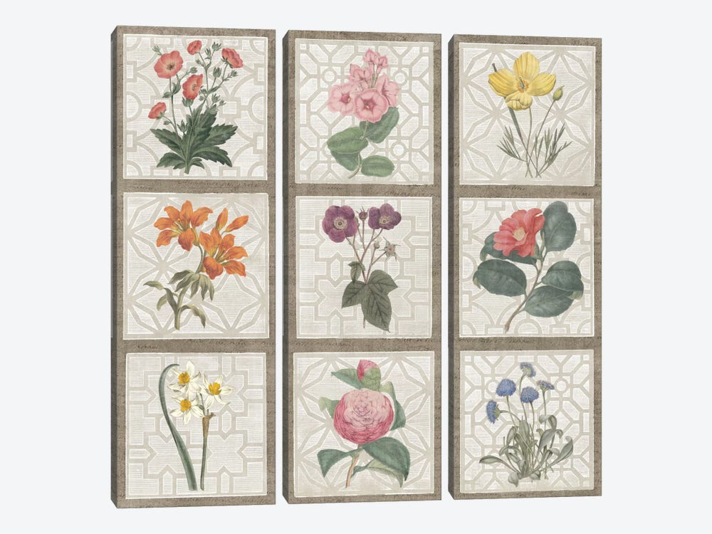 Monument Etching Tile Flowers Square II by Wild Apple Portfolio 3-piece Canvas Artwork