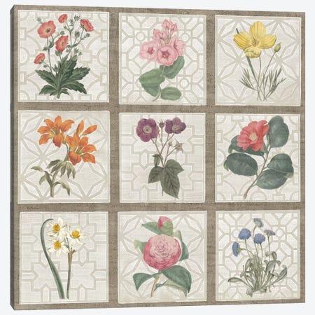 Monument Etching Tile Flowers Square II Canvas Print #WAC1995} by Wild Apple Portfolio Canvas Artwork