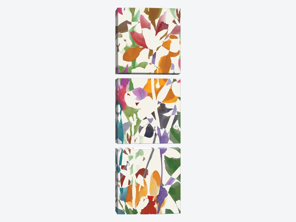 Pink Garden Panel II by Wild Apple Portfolio 3-piece Canvas Wall Art