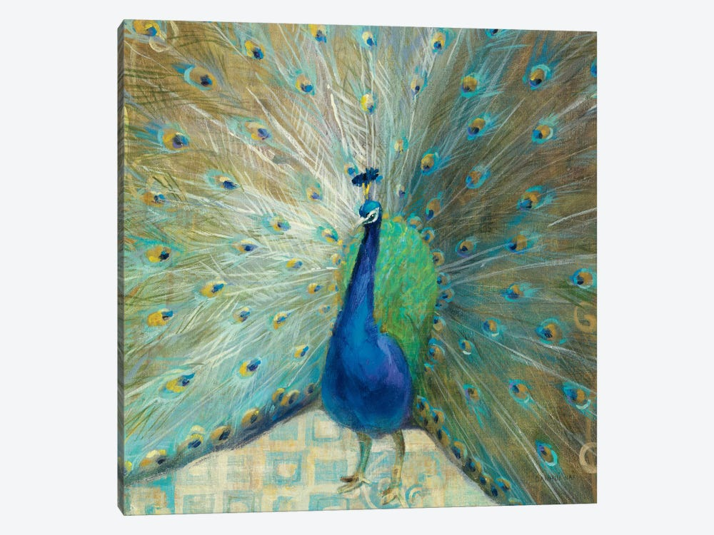 Blue Peacock on Gold 1-piece Canvas Art