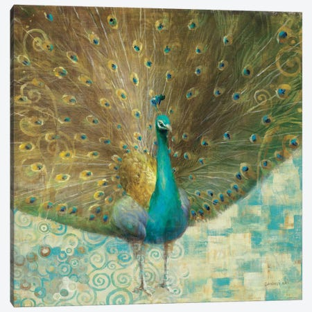 Teal Peacock on Gold Canvas Print #WAC2009} by Danhui Nai Canvas Print