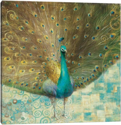Teal Peacock on Gold Canvas Art Print