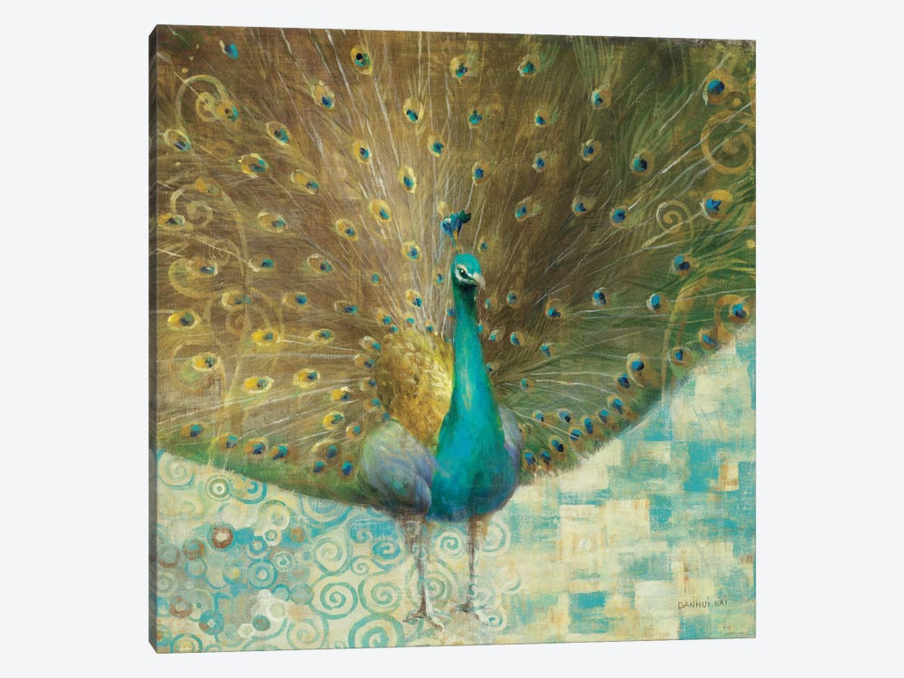 Teal Peacock on Gold by Danhui Nai 1-piece Canvas Print