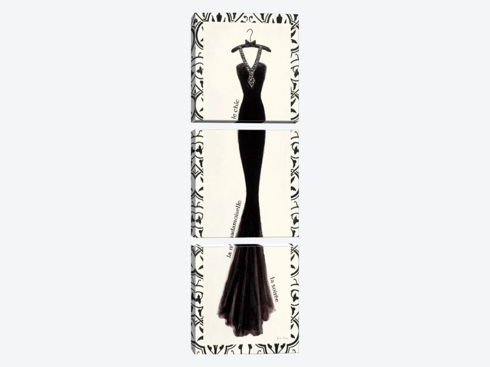 Couture Noir Original III with Border by Emily Adams 3-piece Canvas Art