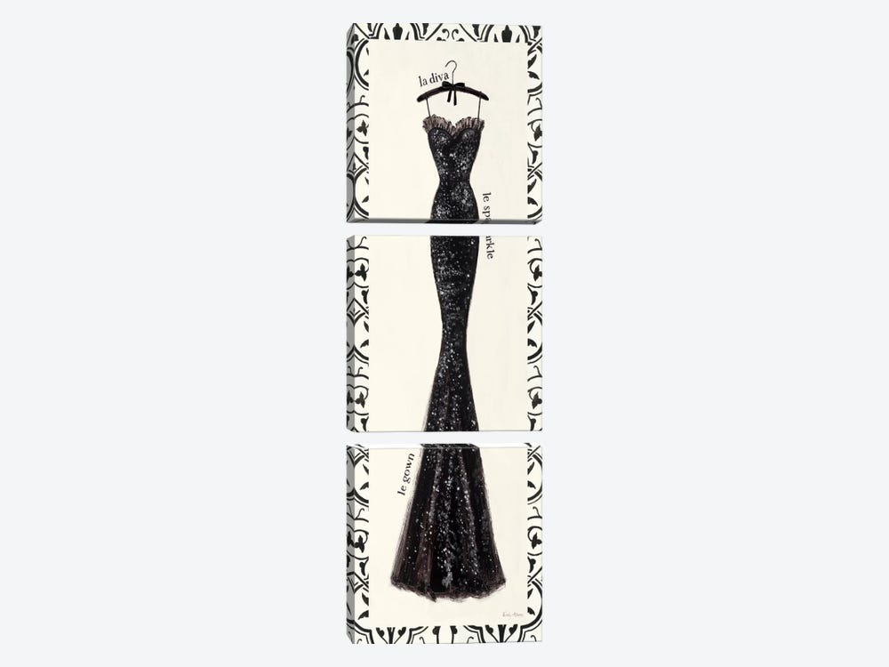 Couture Noir Original IV with Border by Emily Adams 3-piece Canvas Print