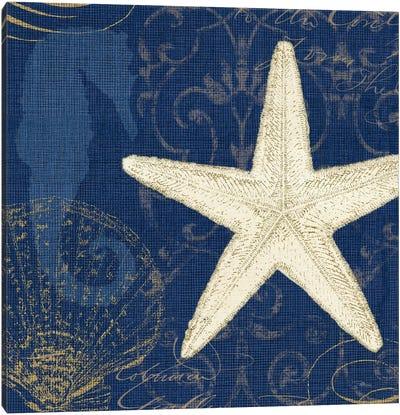 Coastal Moonlight I (Blue) Canvas Print #WAC2039