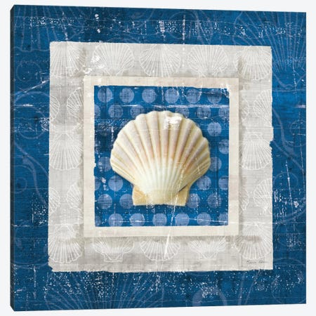 Sea Shell III on Blue Canvas Print #WAC2055} by Belinda Aldrich Canvas Art Print