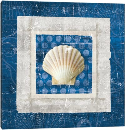 Sea Shell III on Blue Canvas Art Print