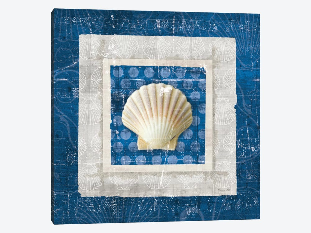 Sea Shell III on Blue 1-piece Canvas Artwork