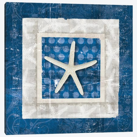Sea Shell IV on Blue Canvas Print #WAC2056} by Belinda Aldrich Canvas Print