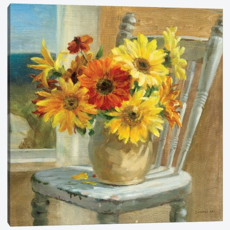 Sunflowers by the Sea Crop Canvas Print #WAC2093} by Danhui Nai Canvas Art