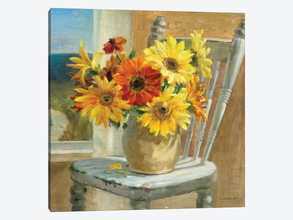 Sunflowers by the Sea Crop by Danhui Nai 1-piece Canvas Wall Art
