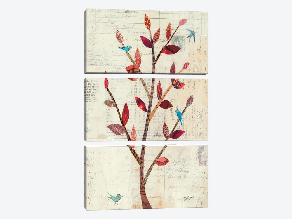 Red Leaf Tree no Border by Courtney Prahl 3-piece Canvas Print