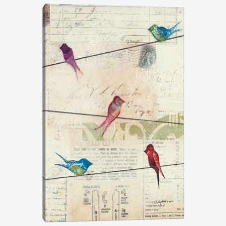 Birds on a Wire no Border Canvas Print #WAC2097} by Courtney Prahl Art Print