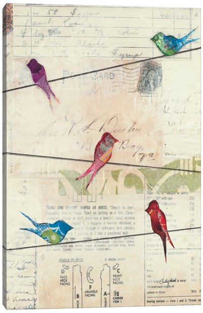 Birds on a Wire no Border Canvas Print #WAC2097
