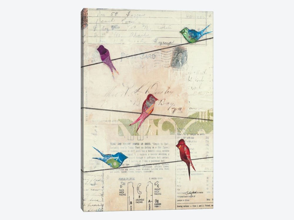 Birds on a Wire no Border by Courtney Prahl 1-piece Canvas Art