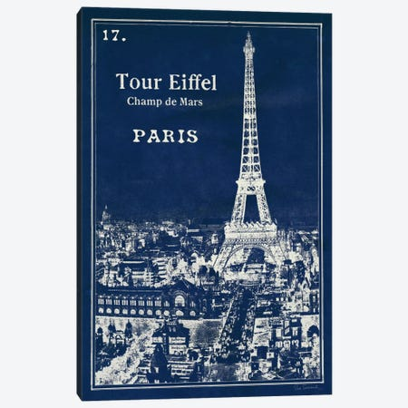 Blueprint Eiffel Tower Canvas Print #WAC2110} by Sue Schlabach Art Print