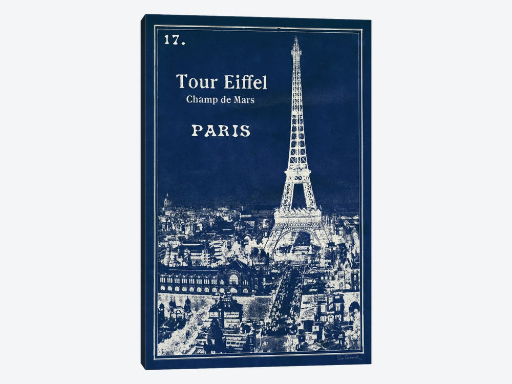 Blueprint Eiffel Tower by Sue Schlabach 1-piece Canvas Wall Art